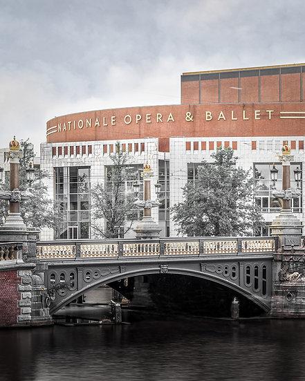 Blauwbrug and Stopera, Amsterdam. Stock-image-Royalty-Free-Color-Photo- by Kaan Sensoy