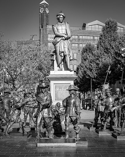 Rembrandt Monument, Amsterdam-Black and White photo by Kaan Sensoy