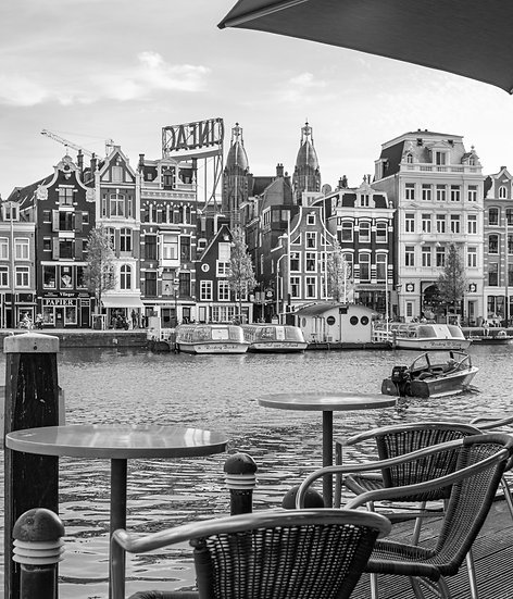 Amsterdam from a  Waterside Café- Black and white photo by Kaan Sensoy