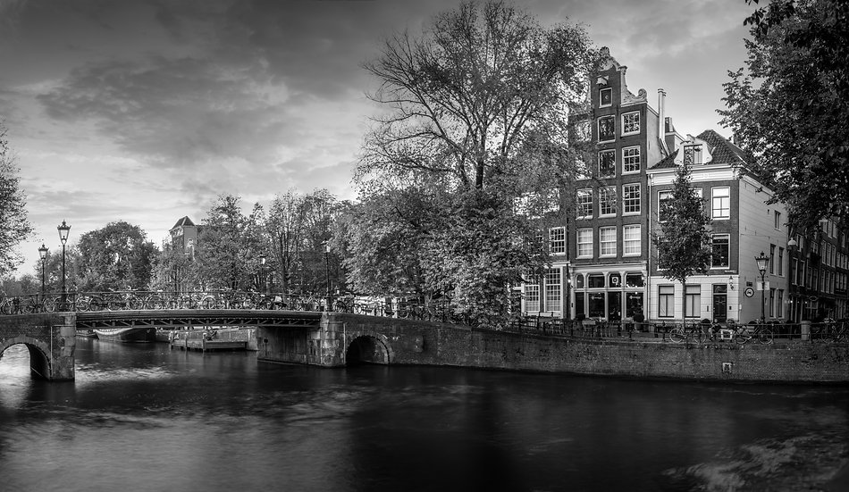 Brouwersgracht, Herenmarkt,  Amsterdam   -Amsterdam Photos Collection-Black and White photo by Kaan Sensoy