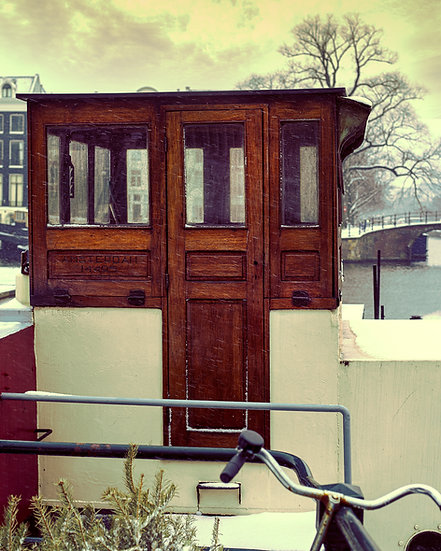 Snowy Houseboat, winter in Amsterdam-Royalty-free, color, stok image- photo by Kaan Sensoy