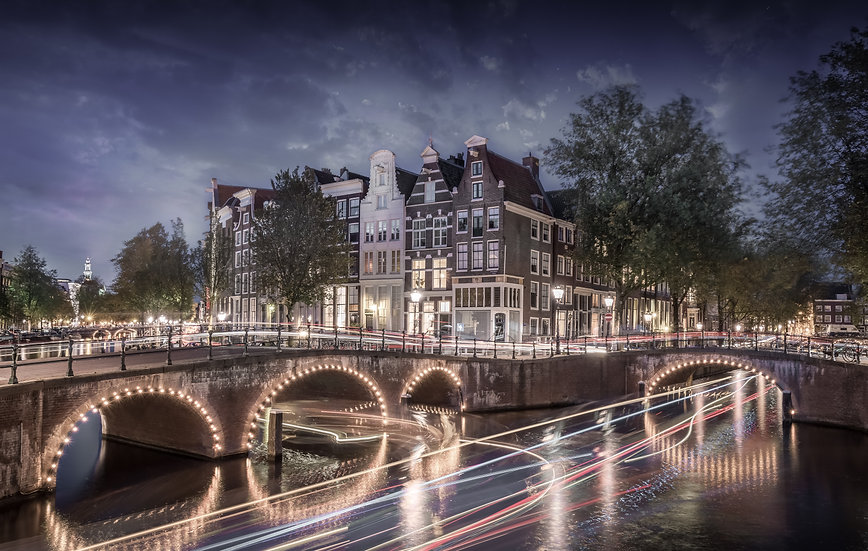 An Amsterdam Canal View with Light Trails - photo by Kaan Sensoy