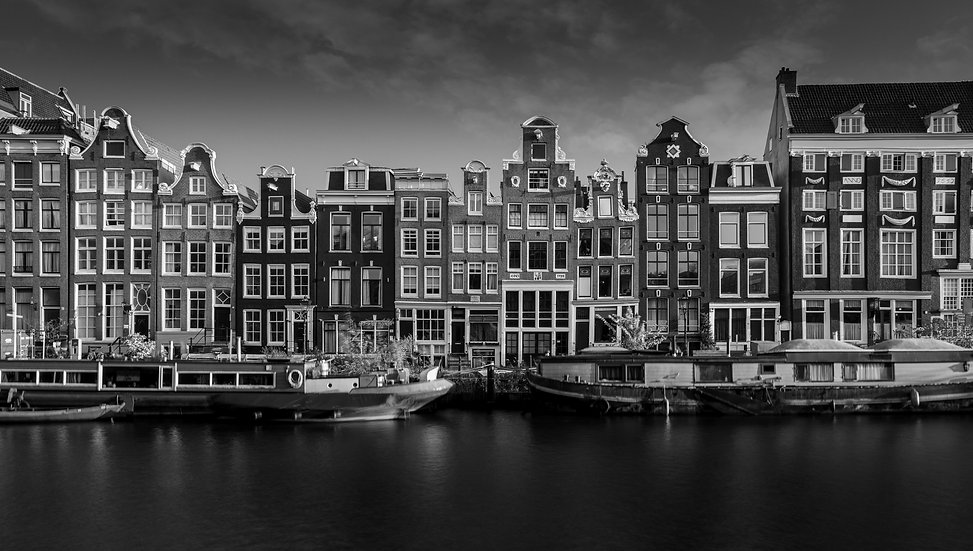 The Singel - A Beautiful Canal view of Amsterdam - Black and White photo by Kaan Sensoy