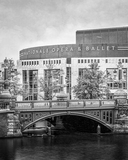 Blauwbrug and Stopera, Amsterdam-Black and White-stock-image-photo-by-Kaan Sensoy