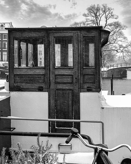Snowy Houseboat, Winter in Amsterdam-Black and White- Stock Image- Royalty Free- Photo by Kaan Sensoy