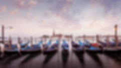 Sunset in Venice and gondolas Fine Art P