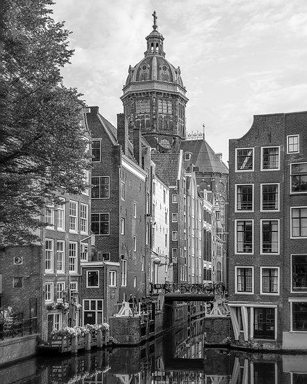 Zeedijk & St Nicholas' Church- Black and White Photo by Kaan Sensoy