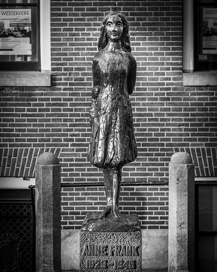 Anne Frank Monument  in Amsterdam- Black and White - stock image- photo- by Kaan Sensoy