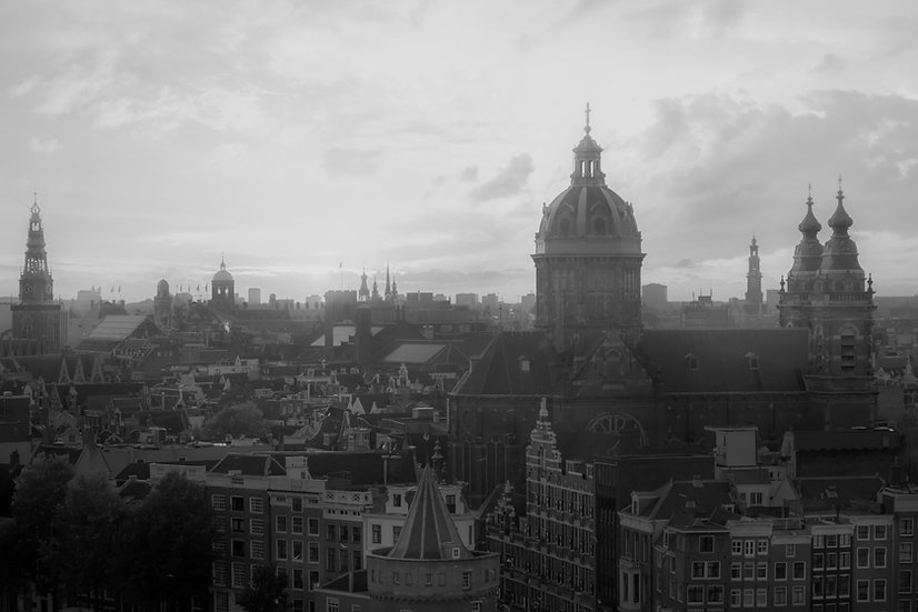 Misty Morning in Amsterdam-Black and White-Stock Photo-by Kaan Sensoy