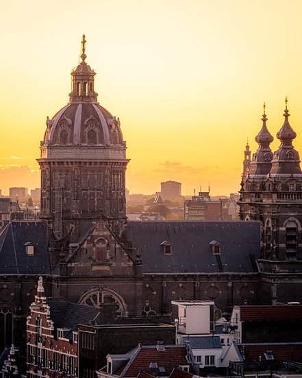 Amsterdam Old City Center at Sunset - color photo by Kaan Sensoy
