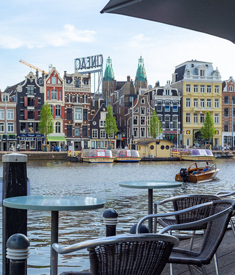 Amsterdam from a Waterside Café - color photo by Kaan Sensoy
