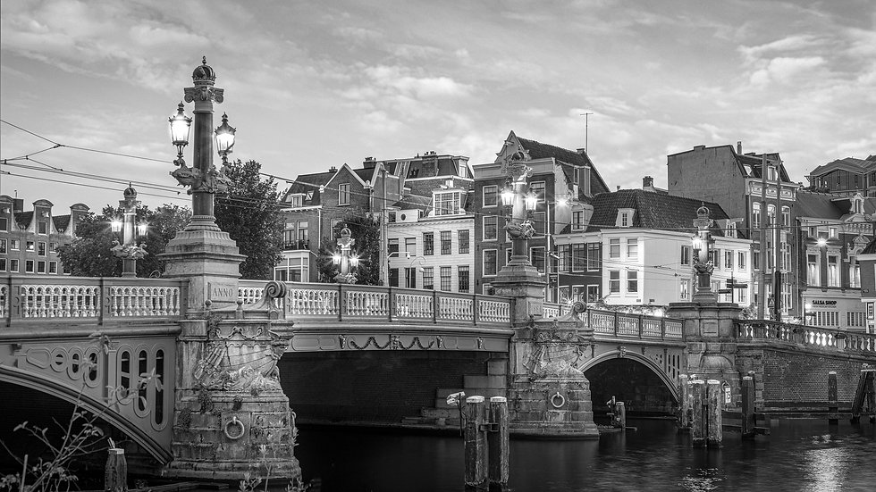 Blauwbrug in an Amsterdam Evening-Black and White photo by Kaan Sensoy