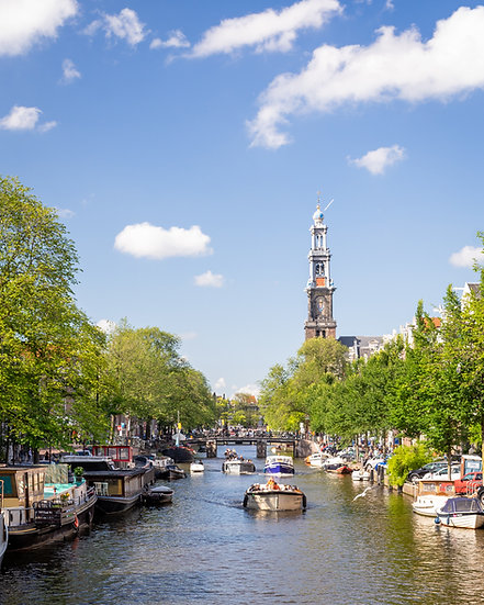 A summer day in Amsterdam canals. Prinsengracht and Westerkerk. Stock image, photo by Kaan Sensoy