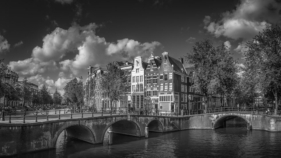 A Sunny Day Canal View in Amsterdam-Black and White- Royalty Free-Stock photo-by Kaan Sensoy