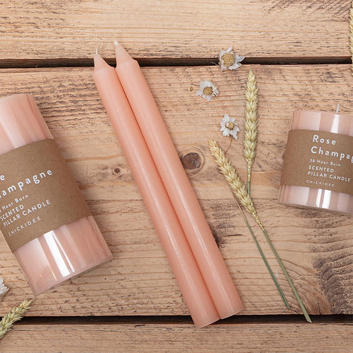 2 Rose Champagne Tapered Candles