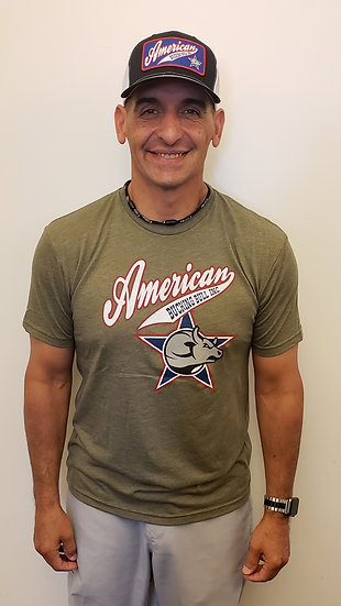 Red, White, and Blue Men's T-shirt - olive