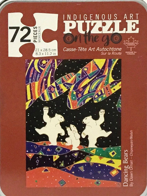 Dancing Bears puzzle 72 pieces in tin box, by Dawn Oman