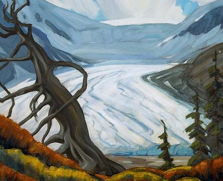 Athabasca Glacier, ca. 1940 - 1950, 8 x 10 Giclée on wood frame