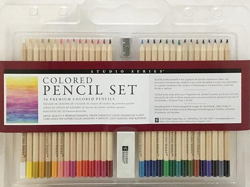30 Colour (Color) Pencil Set with Sharpener & Eraser