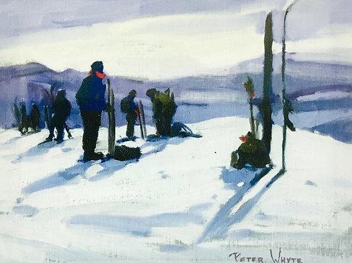 Skiers Deception Pass, ca. 1933 - 1938, 8 x 10 Giclée on wood frame