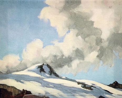 Yoho Peak, ca. 1930 - 1935, 8 x 10 Giclée on wood frame