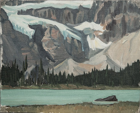 Crowfoot Glacier - ca. 1940 - 1955, 8 x 10 Giclée on wood frame