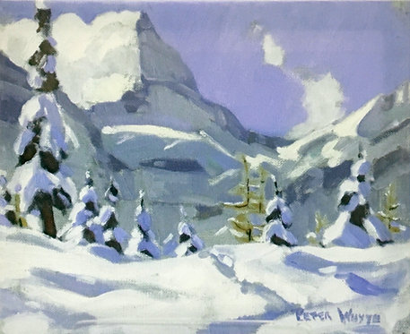 Mount Assiniboine in September Snow, 8 x 10 Giclée on wood frame