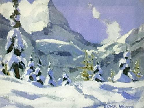 Mount Assiniboine in September Snow, 8 x 10 Giclée on wood frame