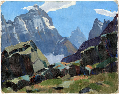 Mount Hungabee from Odaray, ca. 1930 - 1940, 8 x 10 Giclée on wood frame