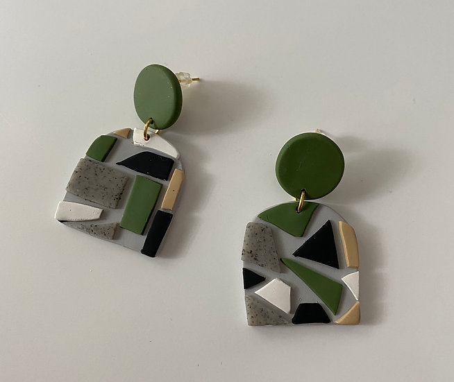 Mosaic Dome Shaped Earrings