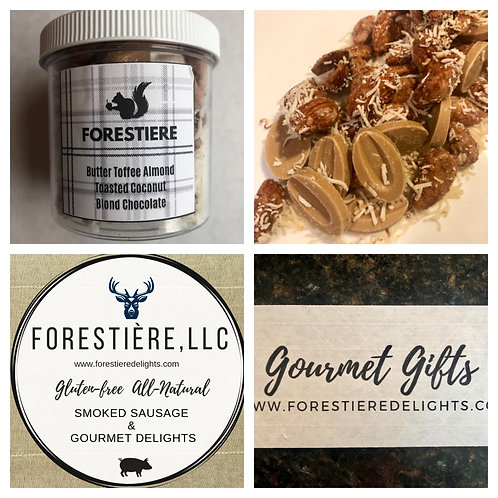 Gourmet Nuts-Butter Toffee Almond, Coconut, Blonde Chocolate