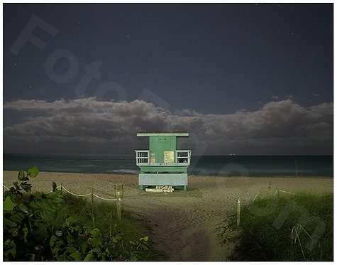 Miami Beach Lifeguard Stand at Night