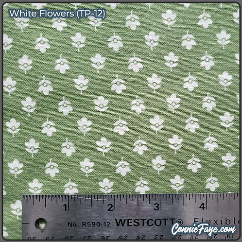 White Flowers (TP-12) Olson Cloth Face Mask