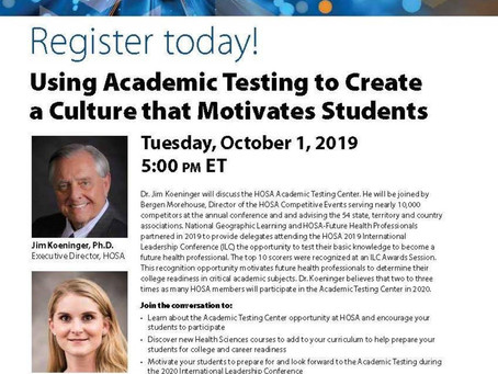 Using HOSA Academic Testing to Create a Culture that Motivates Students- Webinar Recording