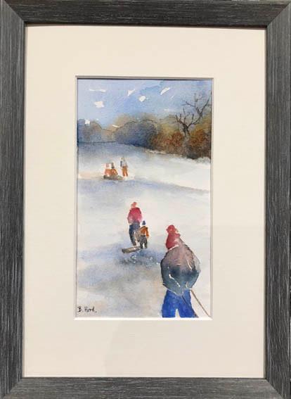 """Sledging fun""  Watercolour  24.3 x 33.8cm  SOLD"