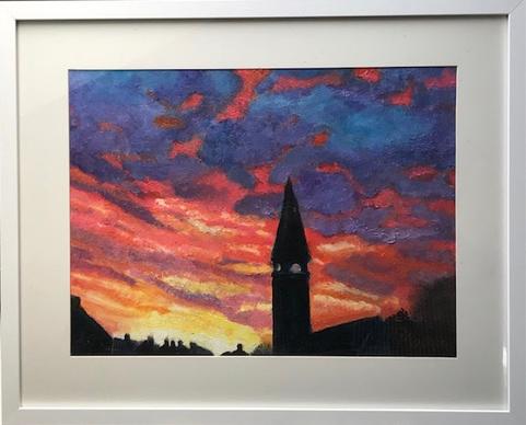 """""""Winter Sunset""""  Oil  52.5 x 43.5 cm  £120"""