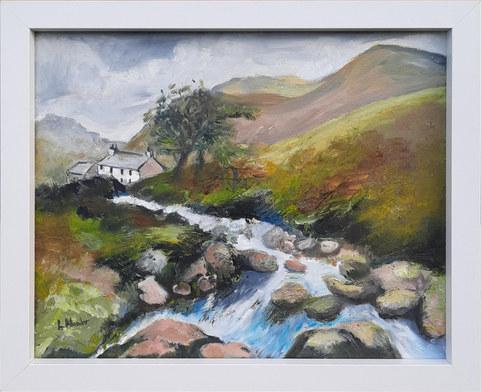 """White House near the Stream"" Oils 33 x 28cm  £60"