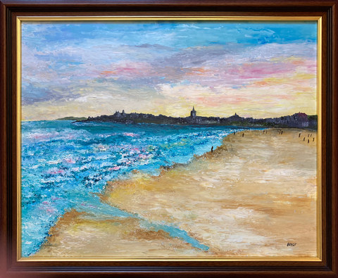 """Evening, West Sands St Andrews"" Oil 22"" x 18"" £140"
