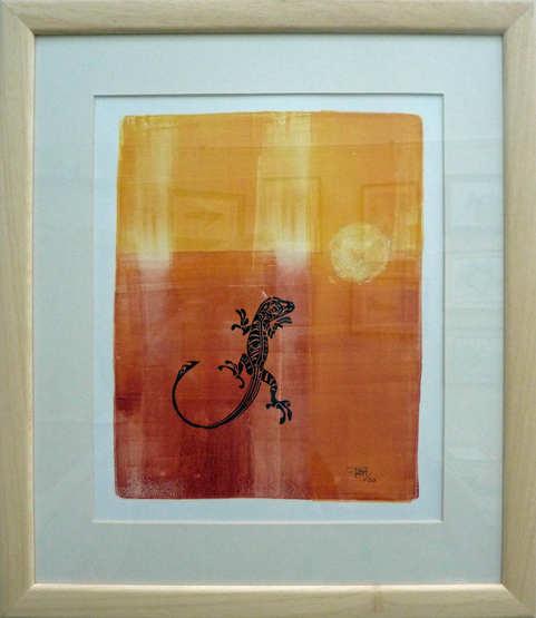 """""""Summer  Lizard""""  Mixed Media  35 x 40cm  £85"""