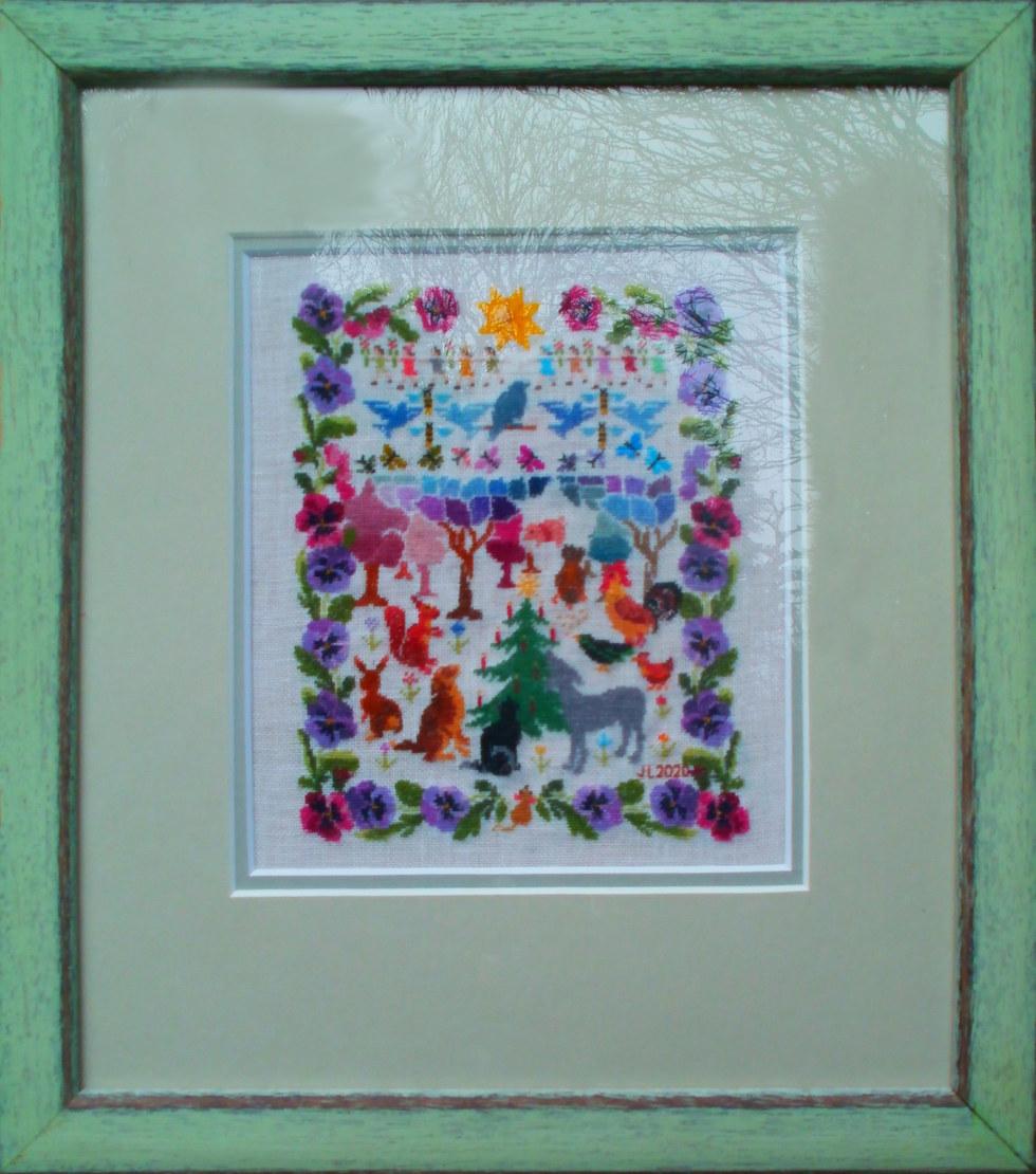 """Pansy Sampler"" Silk-Linen 12"" x 10.5""  £95"
