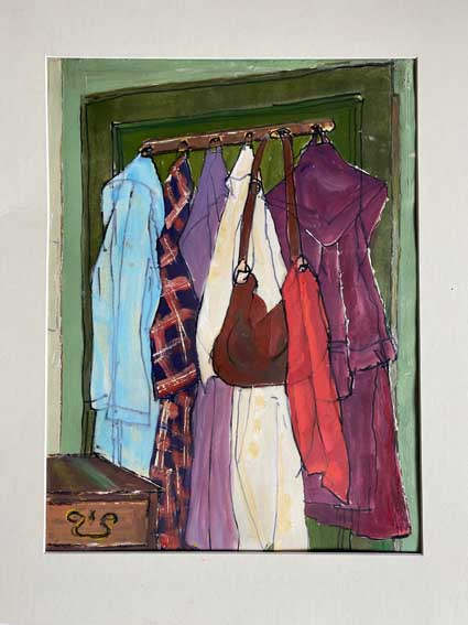 """""""Dressing gown door""""   Oil  20"""" x 16""""  £85"""