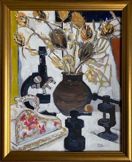 """""""Still life with Teasels""""   oil  22""""x 18""""    £250"""