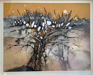 """""""The Ochre Tree""""     Mixed Media    19"""" x 19""""    £190"""