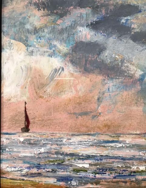 """Red Sail"" Acrylic 14.5"" x 13""  £80"