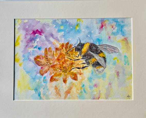 """Bee Happy""  Watercolour/ink  50 x 40cm  £145"