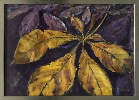 """""""Leaf. Golden""""  Mixed Media  17.5"""" x 12.5""""   £95"""