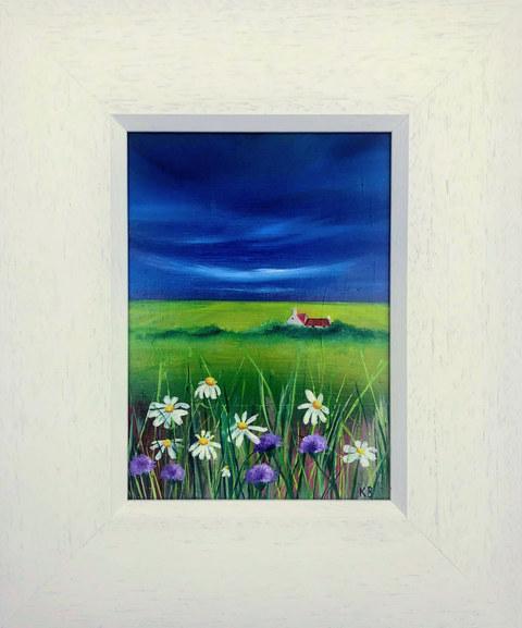 """Daisies & Thistles, Mull of Kintyre, Scotland"" Oil 27.5 x 33cm  £49"