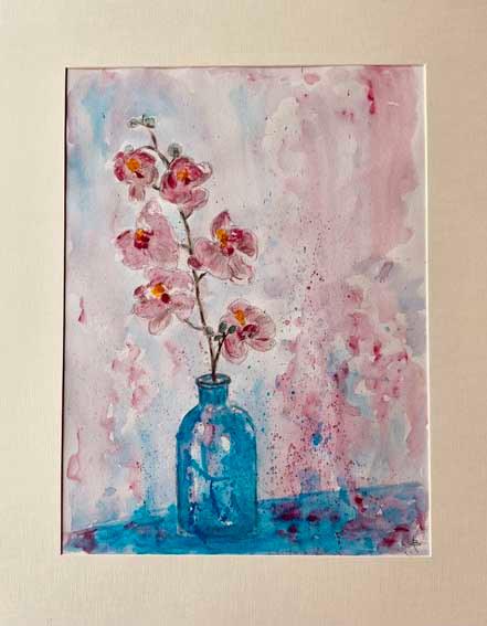 """""""Pink Orchids""""  Watercolour  50 x 40cm  £145"""