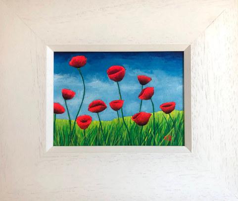 """""""Poppy Field Study 1""""  Acrylic  30 x 25.5 cm  £49"""
