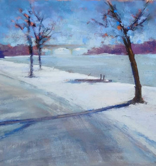 """Sun Warming the Snow"" pastel 17"" x 17"" £130"